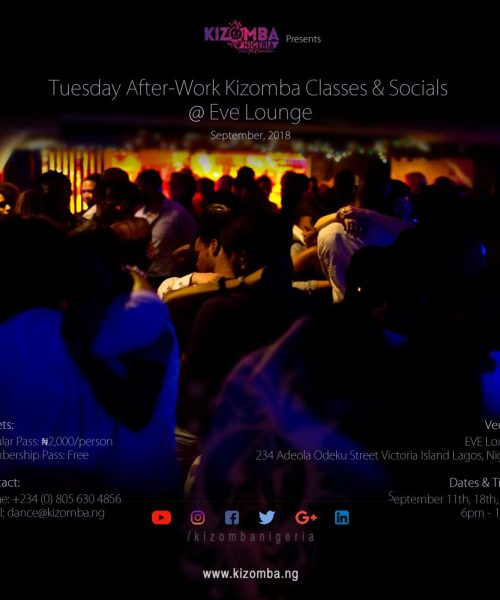 Tuesdays After-Work Kizomba Classes & Socials @ Eve Lounge September 2018